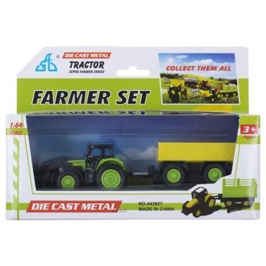 Набор мини транспорта GW Трактор с прицепом 3 вида